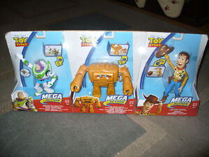 toy story- set of 3 toys.. buzz, woody, and chunk. ages 3 and up