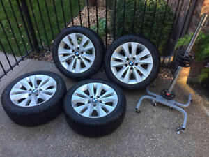 "4- 18"" FACTORY OEM BMW RIMS WITH WINTER TIRES"