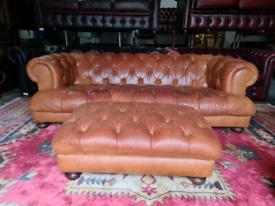 Tetrad Chesterfield Drummond Tan Sofa & Large Foot Stool