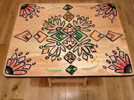 Wooden foldable table one of a kind, hand painted