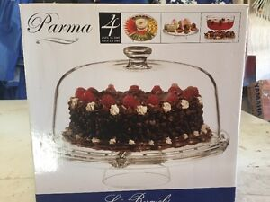 Footed Cake Plate with Dome Cover & Punch Bowl ALL IN ONE