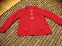 Girls red cardigan age 1.5-2yrs m&s