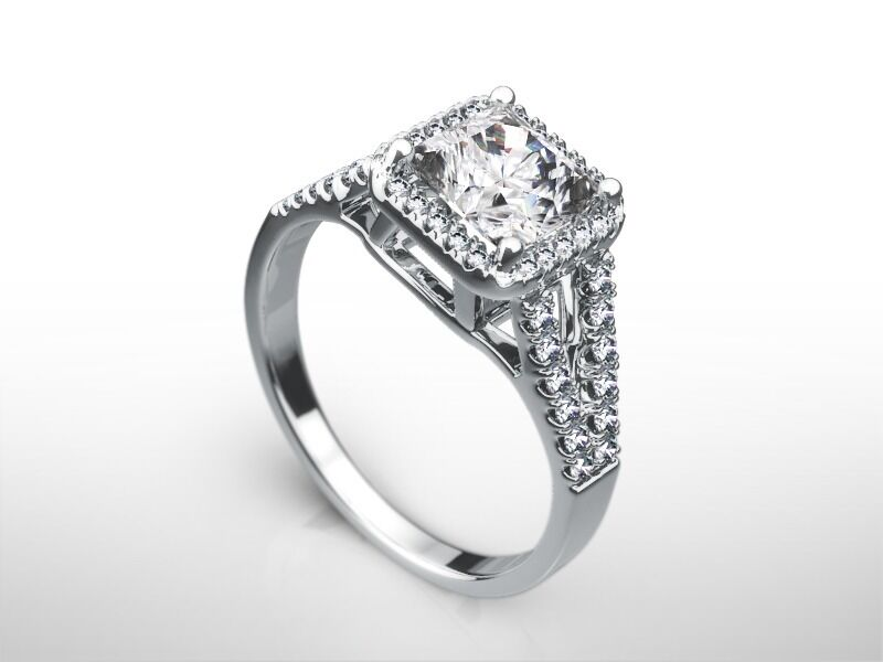 2 1/4 Ct Radiant E/si2 Diamond Solitaire Engagement Ring  White Gold Enhanced