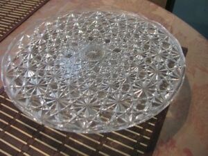 "Cake Glass Serving Plate on a stand 3"" high"