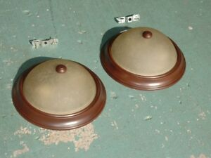 Flush Mount Ceiling Lights (Pair) - Dark Brown, Glass Shade