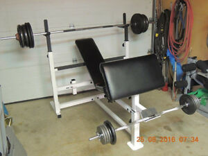 Olympic Bench With 248 Pounds Of Steel Plates And Attachments