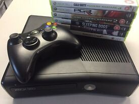 Xbox 360 slim - all leads controller and 6 games