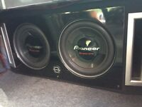 """2x 12"""" Pioneer Subs with amp and box"""