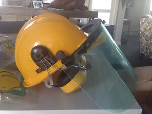 Safety helmet with visor and ear protectors $20