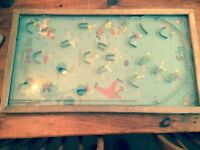 Antique Poosh-M-Up Big 5 Bagatelle Pinball Game, early 1900's