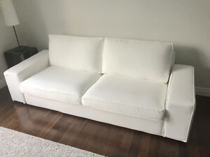 IKEA KIVIK SOFA, WHITE + SPARE LIGHT GREY COVER SET
