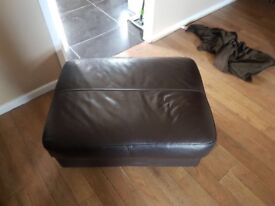 2 and 3 seater real leather sofas and pouf