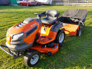 Huskvarna LGHT 22V48 Lawn Tractor with Agro Fab Grass Sweeper