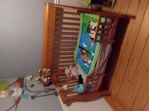 Lit de bébé en bois massif 3 en 1