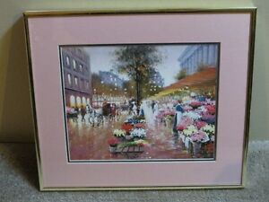 Watercolour print old fashioned flower market signed Churn1992