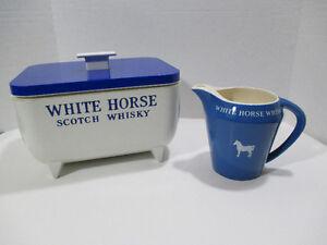 VINTAGE ~WHITE HORSE SCOTCH WHISKY ICE BUCKET & JUG ALCOHOL