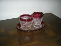 RUBY FLASH DIAMOND POINT PATTERN CREAM, SUGAR & TRAY