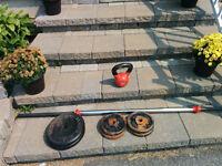 Various weights, bar, kettle ball