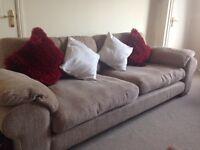 4 seater light brown sofa