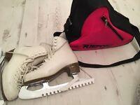 Risport Laser whites ladies size 4 ice skates with Risport bag