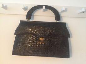 Vintage 80's croc leather handbag