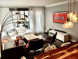 FULLY FURNISHED 5 1/2 CONDO - PARKING, BBQ– SHORT TERM