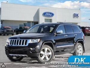 2012 Jeep Grand Cherokee Overland  4WD w/Leather, Nav, Pano Roof