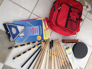 Drum sticks, practice pad, block, mallets, triangle, etc.