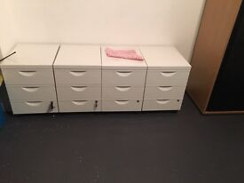 4 draw white filing cabinet