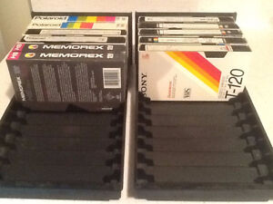 VHS TAPE HOLDERS. DURABLE PLASTIC – EACH HOLDS 12 VHS TAPES