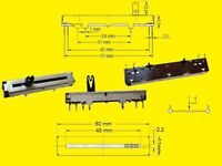 Poti Schiebe Slide Potentiometer Mono 10K OHM 20/% Schiebeweg 45mm 2x