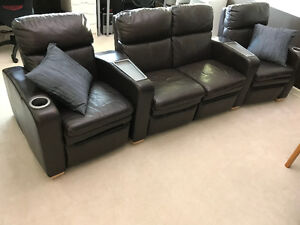 4-Piece LAZBOY-Brand Powered Reclining Theatre Seating - Brown