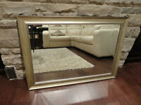 Lovely Rectangle Beveled Mirror in a Silvery Gold Speckle Color