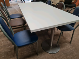 Brand new white cafe tables
