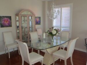 Dining Table with 6 chairs and Curio Cabinet