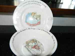 1980s PETER RABBIT china plate and bowl set (+free books)