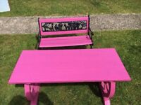 Children's bench and table