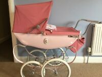 Rose pink silver cross doll carriage pram excellent condition silvercross