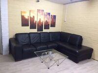 Marinelli Black Italian Leather Corner Sofa