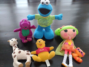 Sophie the Giraffe, Cookie monster, Barney,  Lalaloopsey