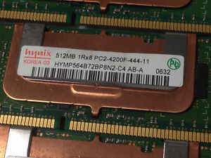 Hynix 512 MB PC2-4200 DDR2 Memory - 4 sticks (2GB) Edmonton Edmonton Area image 2
