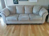 Beige Couch, Loveseat and Chair — Microfibre set from Leon's