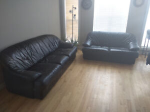 Leather couch and leather loveseat.
