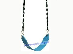 HD-STRAP-SEAT-WITH-CHAINS-BLUE-Outdoor-Swing-Set-Play-Equipment-Cubby