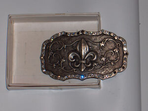 Belt Buckle Fleur de Lys with Rhinestones