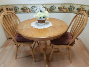 Wood Table and two matching chairs