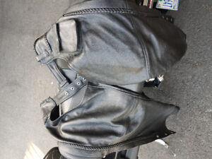 Chaps large, woman's LG leather Harley jacket.