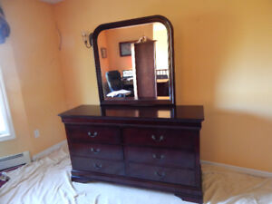 Modern Queen Bed and Dresser  with  Mirror