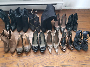 Various high heels shoes and boots