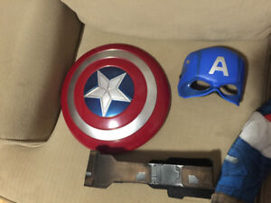 Gently used Captain America  size 4-6 costume for sale.